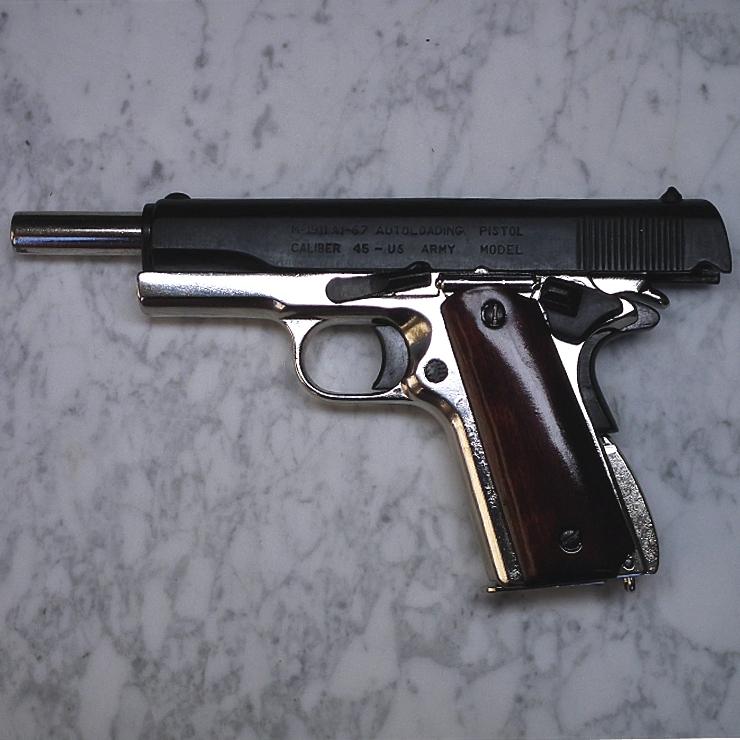 Colt 1911-A1 Dual-Tone Nickel + Wood grips